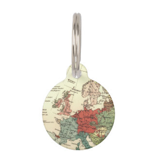 Vintage European Map Continent Pet ID Tag