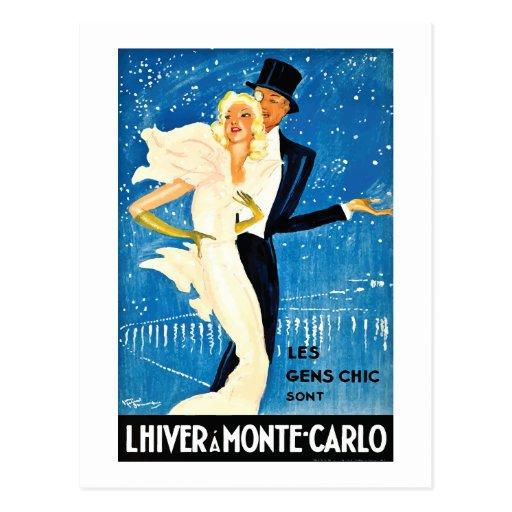 Vintage European Winter in Monte Carlo Travel Postcard