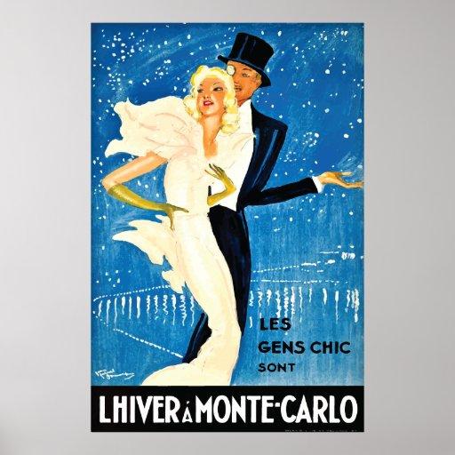 Vintage European Winter in Monte Carlo Travel Print