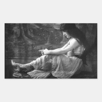 Vintage Evelyn 1913 Nesbit Pegatina Rectangular