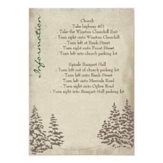 Vintage Evergreen Wedding Information Card
