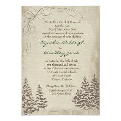 Vintage Evergreen Wedding Invitation 5