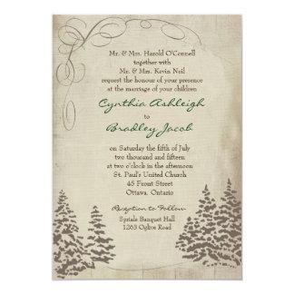 "Vintage Evergreen Wedding Invitation 5"" X 7"" Invitation Card"