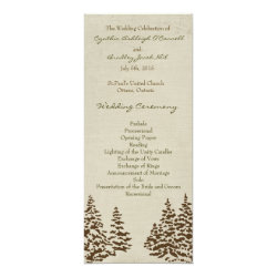 Vintage Evergreen Wedding Program 4x9.25 Paper Invitation Card