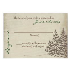 Vintage Evergreen Wedding Response Card 3.5