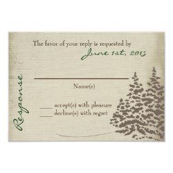 Vintage Evergreen Wedding Response Card 3.5