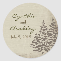 Vintage Evergreen Wedding Sticker