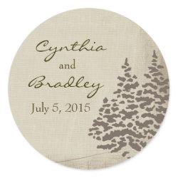 Vintage Evergreen Wedding Sticker