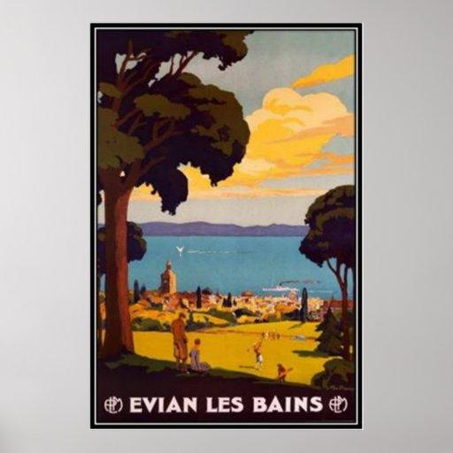 Vintage Évian-les-Bains, Rhône Alpes, Francia - Posters