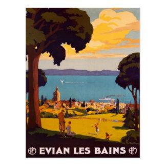 Vintage Évian-les-Bains, Rhône Alpes, Francia - Postal
