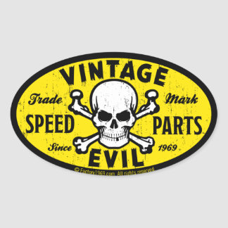 Vintage Evil 007A Oval Stickers