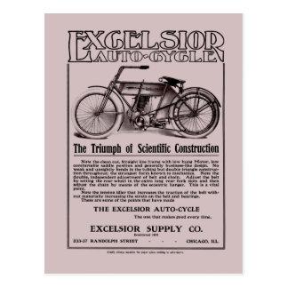 Vintage Excelsior auto cycle ad Postcard