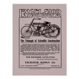 Vintage Excelsior auto cycle ad small Poster