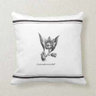 Vintage exotic orchid flower etching pillow