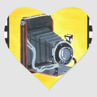 Vintage Expandable Camera Heart Sticker