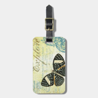 Vintage Explore Butterfly...luggage tag