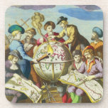 Vintage Explorers with Antique Globe Map, 1542 Coasters