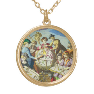 Vintage Explorers with Antique Globe Map, 1542 Gold Plated Necklace
