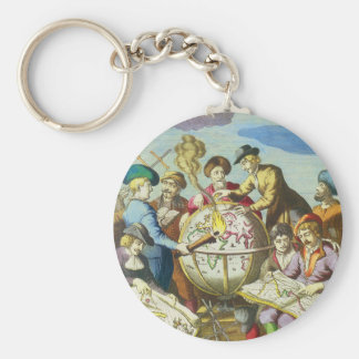Vintage Explorers with Antique Globe Map, 1542 Keychain