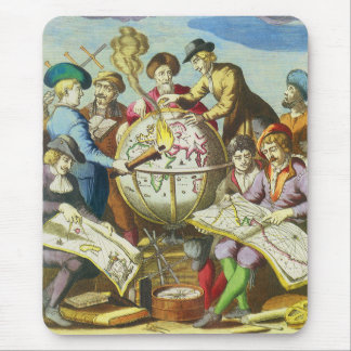 Vintage Explorers with Antique Globe Map, 1542 Mouse Pad