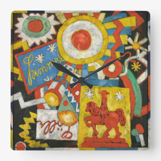Vintage Expressionism, Himmel by Marsden Hartley Square Wall Clock
