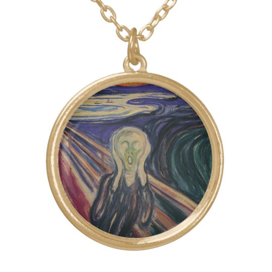 Vintage Expressionism, The Scream by Edvard Munch Gold Plated Necklace
