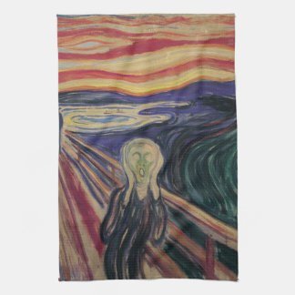 Vintage Expressionism, The Scream by Edvard Munch Kitchen Towel
