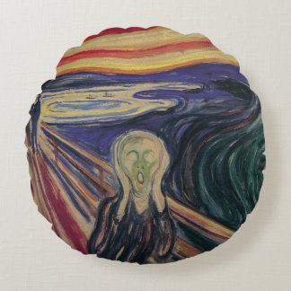 Vintage Expressionism, The Scream by Edvard Munch Round Pillow