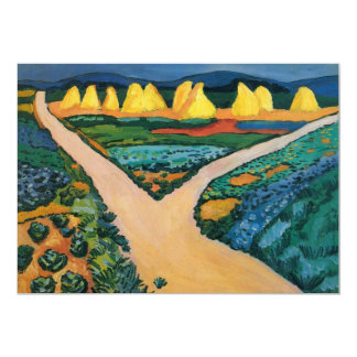 Vintage Expressionism, Vegetable Fields by Macke 5x7 Paper Invitation Card