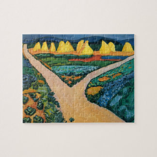 Vintage Expressionism, Vegetable Fields by Macke Jigsaw Puzzle