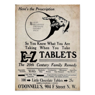 Vintage EZ Tablets 20th Century Family Remedy Posters