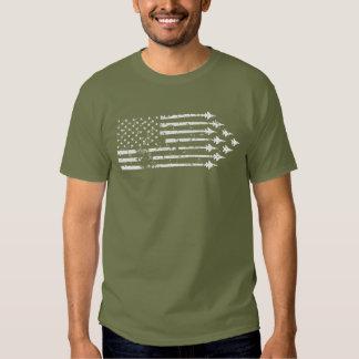 Vintage F-15E Fighter Jet Contrails American Flag T Shirt