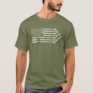 Vintage F-15E Fighter Jet Contrails American Flag T-Shirt