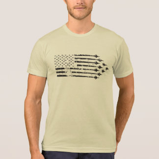 Vintage F-15E Fighter Jet Contrails American Flag Tee Shirt