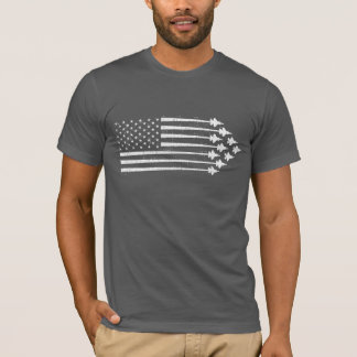 Vintage F-35 Fighter Jet Contrails American Flag T-Shirt