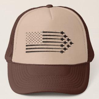 Vintage F-35 Fighter Jet Contrails American Flag Trucker Hat