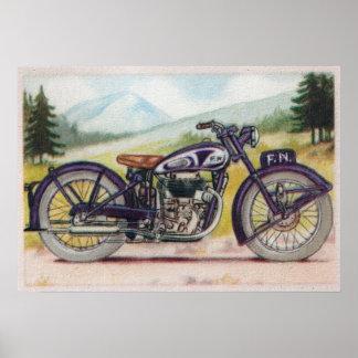 Vintage F.N. púrpura Motorcycle Print Póster