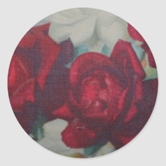 Vintage Fabric Design  Red and White Rose Sticker