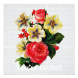 Vintage Fabric Look Roses & Flowers Personalized Invites