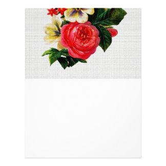 Vintage Fabric Look Roses & Flowers Letterhead