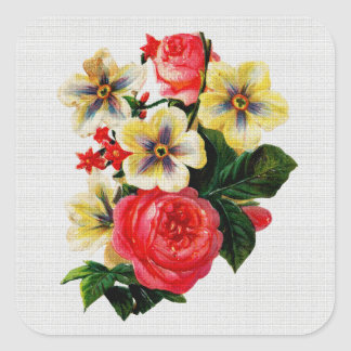 Vintage Fabric Look Roses & Flowers Square Sticker