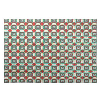 Vintage Fabric Pattern. Elegant Red, Green & Gold Placemat