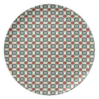 Vintage Fabric Pattern. Elegant Red, Green & Gold Plate