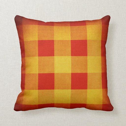 Vintage fabric squares pattern throw pillow Zazzle