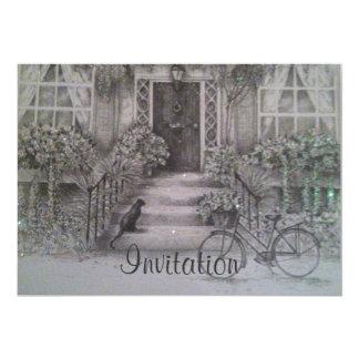 vintage facade home invitation
