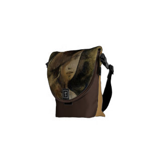 Vintage face of woman to the hat messenger bag