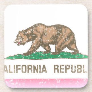 Vintage Fade California Flag Beverage Coasters