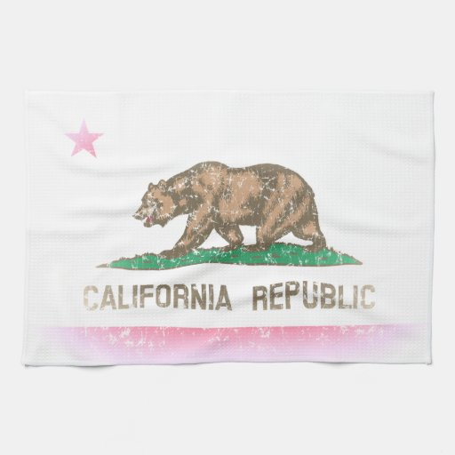 Vintage Fade California Flag Hand Towels