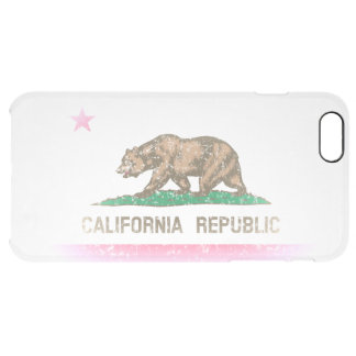 Vintage Fade California Republic Flag Clear iPhone 6 Plus Case