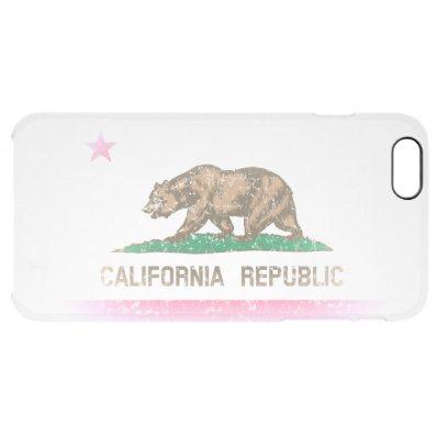 Vintage Fade California Republic Flag Clear iPhone 6 Plus Case